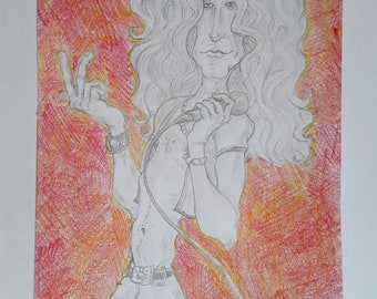 Robert Plant, pencil drawing (original)