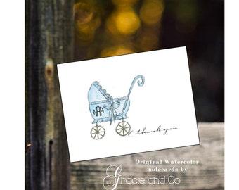 Children baby boy shower new baby personalized notecards, custom personalized notecards,