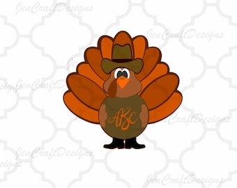 Cowboy Turkey Monogram Frame SVG, EPS, Png, DXF, Autumn Fall Cut files for Cricut, Silhouette cameo, Vinyl Cutters  Layered Cut Files