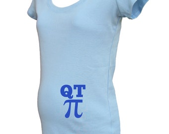 Maternity Shirt - QT Pi Funny Math Smart Maternity Top - Maternity Baby Steps / Baby Feet - New Baby - Baby Shower - Gift Friendly