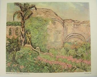 Mission San Juan Capistrano by Bessie Lasky Vintage Print