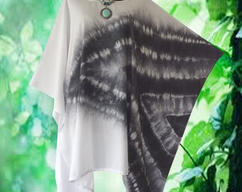 Minimalist Hand dyed Artwork Poncho Cover Up Top blouse