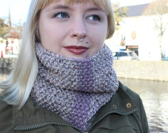 Striped Knit Cowl in Beige and Lavender
