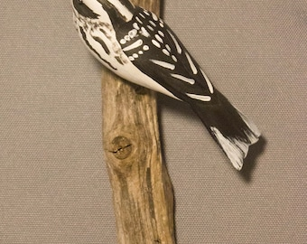 Black and White Warbler - left facing. Handcrafted, carved  wooden bird, painted bird, home decor, wall decor, Made in USA
