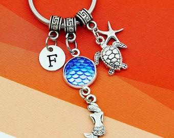 Mermaid Keychain, mermaid scales keychain, best friend keychains, mermaid keyring, mermaid key ring, custom charm keychain, initial keychain
