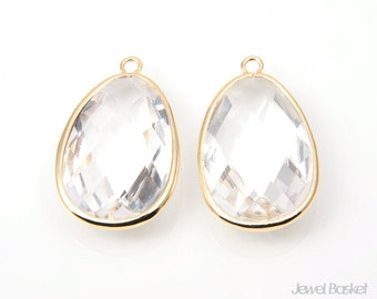 Crystal Glass and Gold Framed Pendant - 2pcs Crystal Glass Pendant / 18.5mm x 31.5mm / SCRG067-P