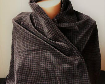 """Black and red windowpane check cotton velveteen -3 yds. x 44"""" wide"""