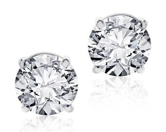 1.50 Carat Round Cut Diamond Stud Earrings F-G/VS2-SI1 14K White Gold