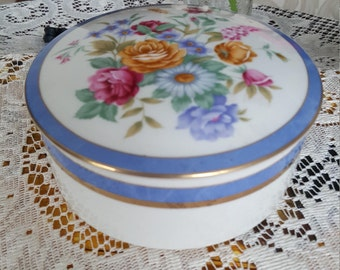 Mikasa Cozette Trinket Dish With Lid China Set, Floral Bouquet Blue Gold Trim, Wedding China, Classy Tea Set, Vintage China Bowl, China Set