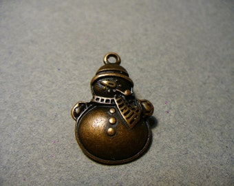 Charm  Antique Copper Snowmanl 25x17mm