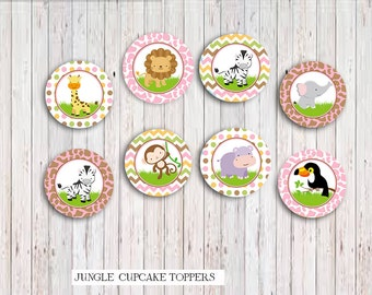 Safari Jungle Girls Cupcake Toppers , Safari  Party Printable, Jungle Little animals favors DIY, INSTANT DOWNLOAD Printable