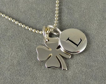 Four Leaf Clover Initial Necklace - St. Patrick's Day, Personalized, Good Luck