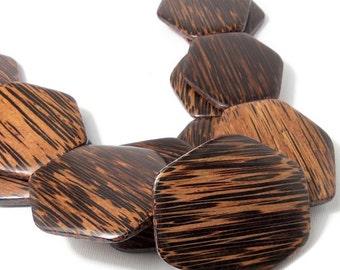Patikan Wood, Hexagon, Flat, Smooth, Focal Bead, Old Palmwood, Natural Wood Beads, 6mm x 50mm x 55mm, Large, Big, Jumbo, 2pcs - ID 1881