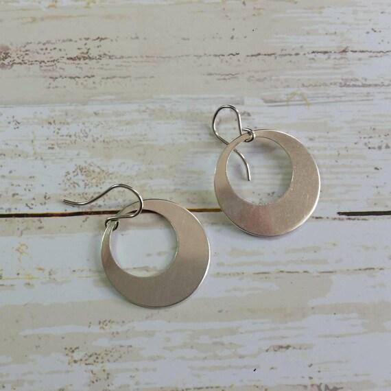Sterling Silver Disk Earrings Hoop Dangle Earrings