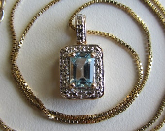 """Sterling Silver 10k Yellow Gold Vermeil Topaz Pendant Necklace With Box 18"""""""