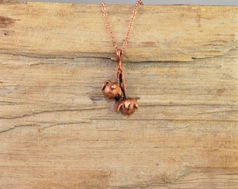 Electroformed Real Seed Buds Copper Necklace L19