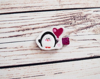 Handcrafted Valentine Penguin Feltie Clip - Penguin Heart Hair Bow - Small Hair Clip - Valentines Day Bow -Baby Girl Clips -Stocking Stuffer
