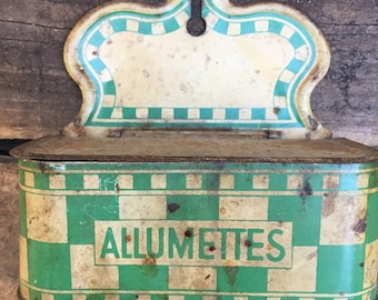 FrenchVintage French Allumettes Box - Vintage 1940s French Kitchen - French Matchbox - French Tin - Kitchen - French Country - Farmhouse