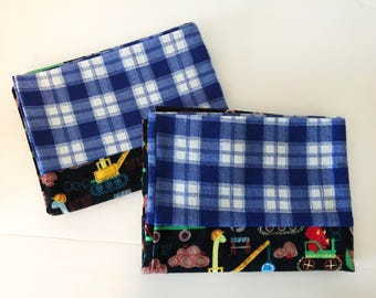 Construction Animal Print Flannel Pillowcases. Pillowcase Set. Standard Pillow Cases. Pillowcases For All Ages
