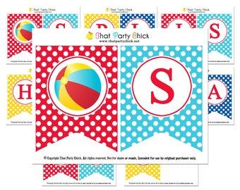 "Beach Ball ""Splish Splash"" Banner Printable - Instant Download - Splish Splash Collection"