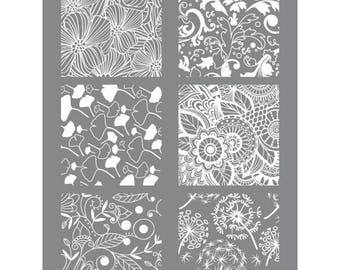 Fimo polymer clay Floral stencil