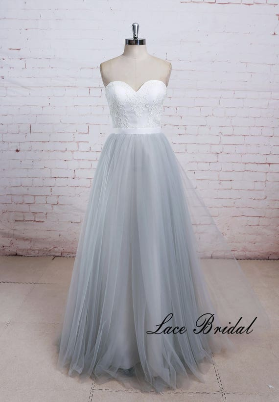 Airy Dusty Blue Tulle A Line Beach Wedding Dress with