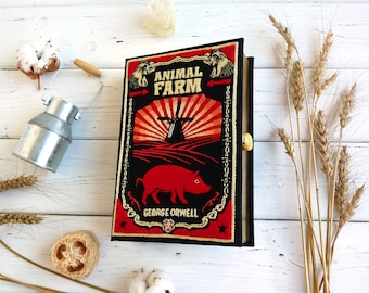 Book Purse with silk embroidery and felt design - Animal Farm by George Orwell. Personalized gift for a girlfriend. Customizable book clutch