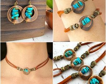 Genuine Turquoise Jewelry Set-Southwestern Turquoise-Turquoise Jewelry Native America-Turquose Jewelry Bracelet-Turquoise Jewelry Choker