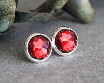 Red Stud Earrings, Dark Red Earrings, Red Post Earrings, Dark Red Bridesmaid Earrings, Red Rhinestone Earrings, Faux Crystal Earrings, 10MM