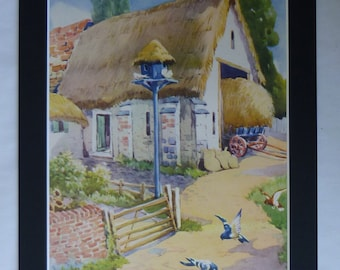 1950s Vintage Dovecote Print, Available Framed, Pigeon Art, Rural Gift for Farmer, Dove Wall Art, Barn Decor, Country Picture, Thatched Roof