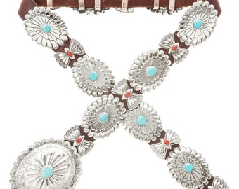 Native American Hammered Silver Concho Belt With Turquoise And Coral