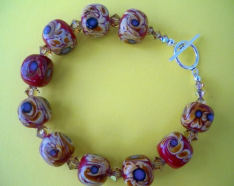 Lampwork,Swarovski Crystal and Sterling Bracelet