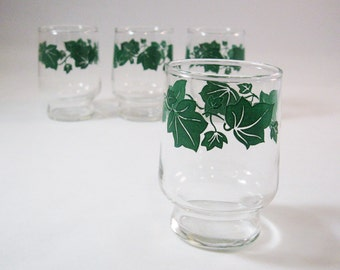 Vintage Juice Glasses, Ivy Pattern