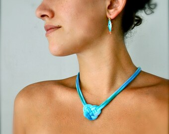 Collier coeur - Turquoise Ombre - recyclé bijoux tissu