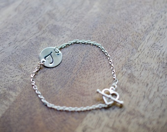 Dainty Hand Stamped Initial Bracelet