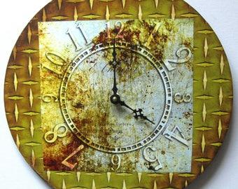 Wall clock. Unique wall clock. Elegant clock. Antique brass clock. Vinyl clock.