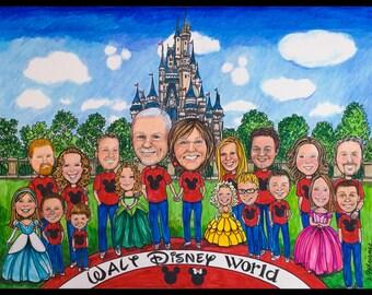 Custom caricature, retirement for men, retirement for women, retirement for man, retirement for woman, Disneyland caricature, Disney cartoon