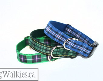 """Rangers Tartan Dog Collar - FC Plaid Dog Collar - 1"""" (25mm) Wide - Quick Release or Martingale Dog Collar - Choice of collar style and size"""