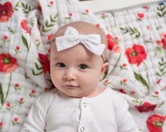 White Embroidered Abigail Fabric Bow Headband | Baby Girl Nylon Headbands | Tiny Tied Bow Clip