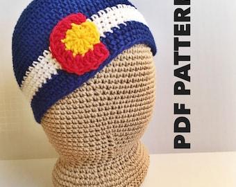 Colorado Beanie Crochet Pattern- Colorado Crochet Hats Pattern for Women - Womens Beanie Colorado Flag- Instant Download