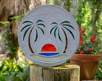 Beach Scene Stained Glass Stepping Stone #809