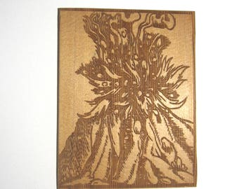 Wall art Erupting volcano Etched image on Douglas fir Renaissance wall decor