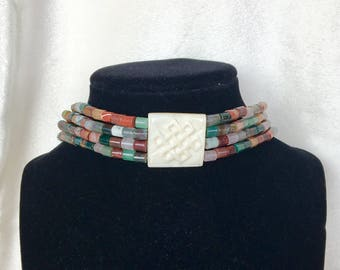 African Tribal Bone and Gemstone Necklace