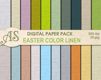 Digital Easter Color Linen Paper Pack, 20 printable Digital Scrapbooking papers, linen Fabric Digital Collage, Instant Download, set 160