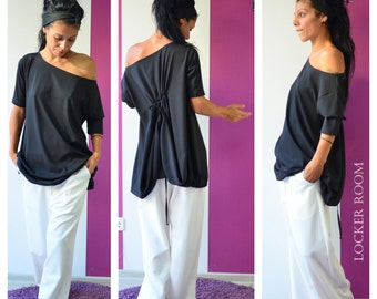 Cold Shoulder Top, Tunic Shirt, Summer Blouse, Tunic Dress, Summer Shirt, Plus Size Tunic, Party Dress, Black shirt