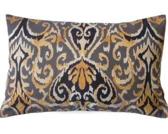Decorative Lumbar Pillow Cover Black Ivory Yellow Gold Ikat Design Same Fabric Front/Back Toss Throw Accent 12x18 inch  x