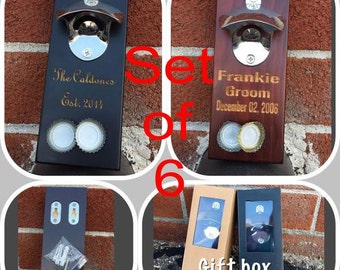 Personalized Bottle Openers Set of 6/Wood Bottle Opener/Wall Mount Bottle Opener/Man Cave Gift/Beer Lover Gift/Bridal Party Gift/Rustic Beer