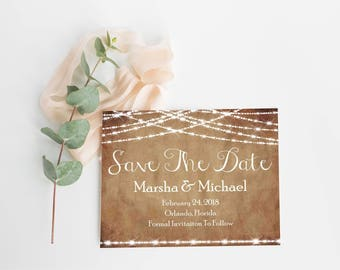 Save The Date Template- Save The Date Card- Rustic Save The Date- Save The Date PDF- Wedding Announcement- Printable Save The Date-
