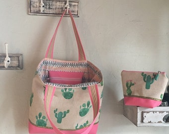 Cactus bag & matching pouch