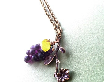 Purple Grape Necklace, Grape Jewelry, Bunch of Grapes Necklace, Wine Theme